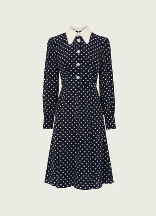Mathilde Navy & Cream Polka Dot Silk Tea Dress