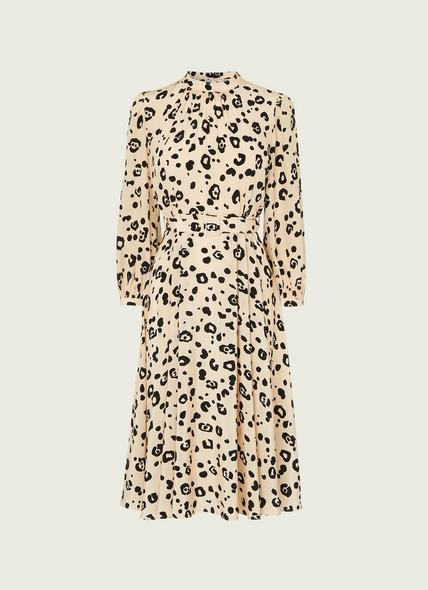 May Cheetah Print Silk Midi Dress