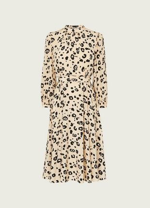 May Cheetah Print Silk Midi Dress