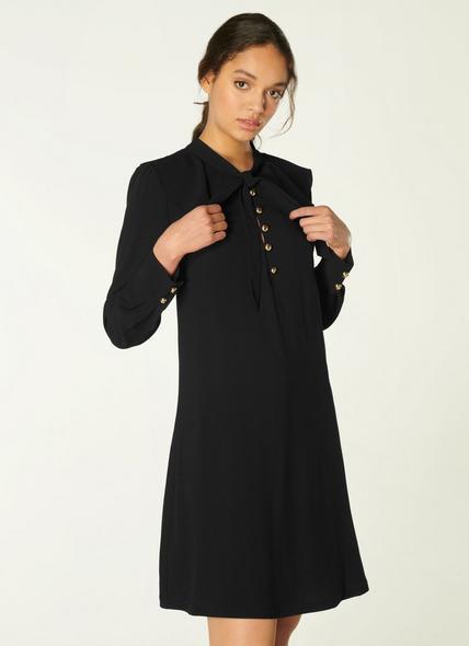 Millie Black Crepe Frill Collar Tunic Dress