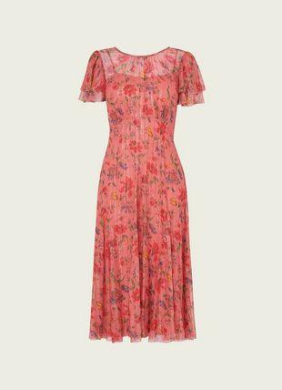 Monica Pink Romance Floral Print Lurex Silk Dress