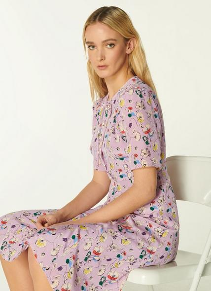 Montana Lilac Anemone Print Silk Tea Dress
