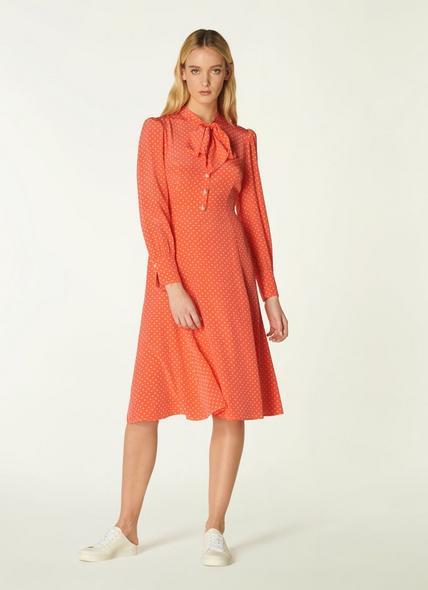 Mortimer Coral Polka Dot Silk Dress