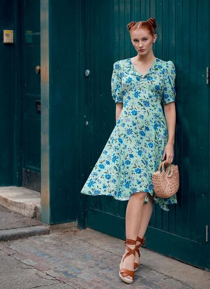 Pami Green Romance Floral Silk Dress
