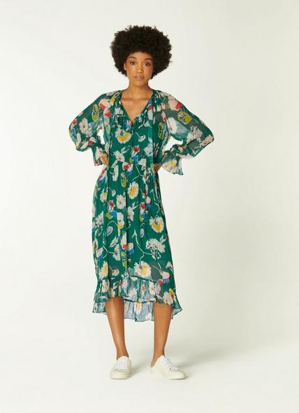 Pascale Green Anemone Print Frill Collar Dress