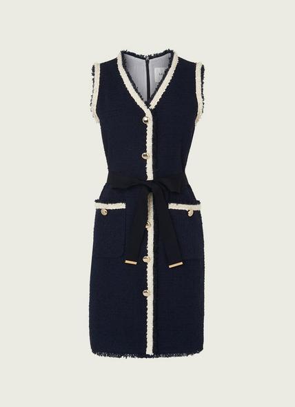 Pearl Navy Tweed Dress