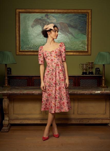 Phelia Pink Romance Floral Stretch Cotton Dress