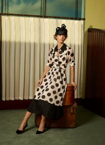 Pierre Monochrome Oversized Spot Print Georgette Dress