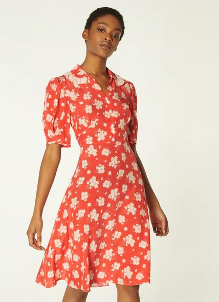Roisin Coral Sweet William Print Silk Dress