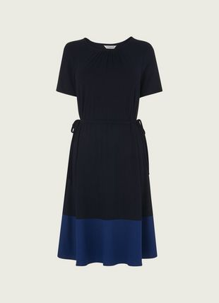 Ross Navy Jersey Colour Block Dress