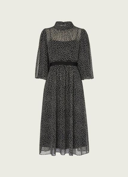 Rowan Black & Cream Spot Print Midi Dress