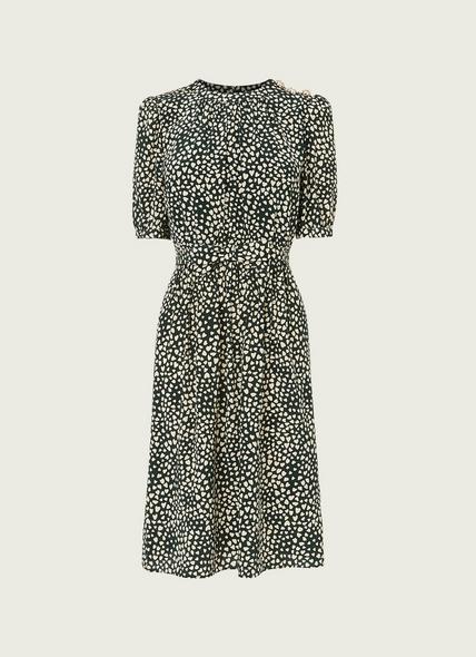Sadie Green and Cream Heart Print Silk Dress