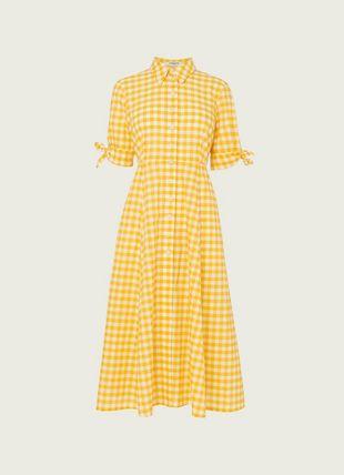 Saffron Yellow Gingham Cotton-Blend Shirt Dress