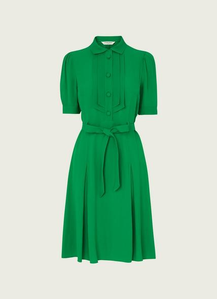Shrimpton Green Crepe Tea Dress