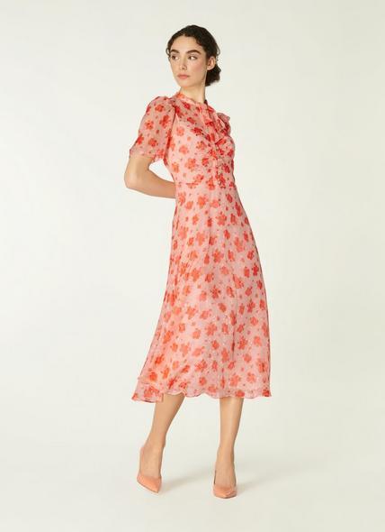 Sina Sweet William Print Silk-Blend Midi Dress