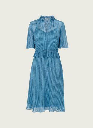 Tate Blue Polka Dot Crinkle Silk Dress