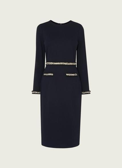 Vinnie Navy Jersey Tweed Trim Shift Dress