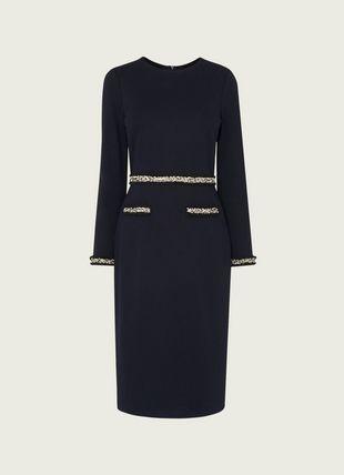 Vinnie Navy Jersey Tweed Trim Shift Dress