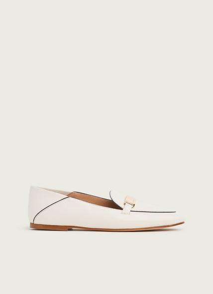 Paola Off-White Leather Contrast Piping Loafers
