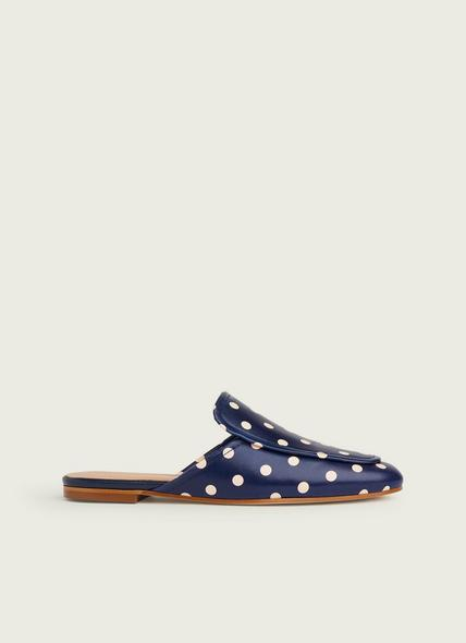 Pembrooke Navy and Cream Spotty Leather Backless Loafers