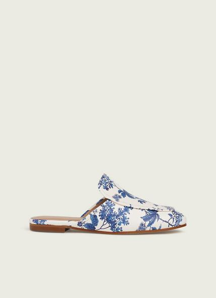 Pembrooke Toile de Jouy Print Leather Backless Loafers