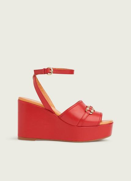 Selene Red Leather Snaffle-Detail Platform Wedges