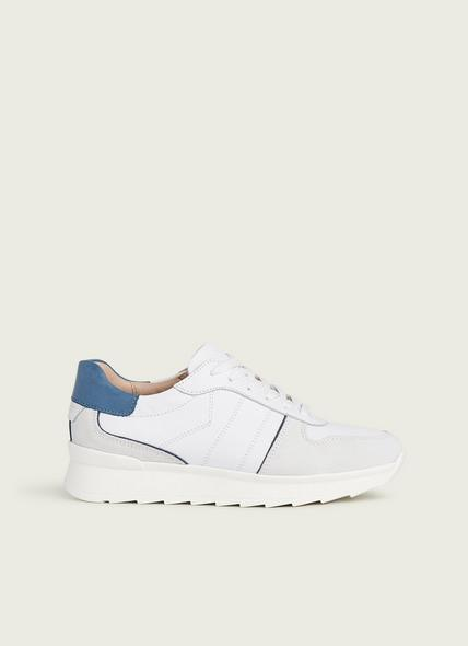 Tatiana White, Off-White and Blue Leather & Suede Trainers