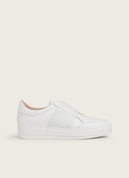 Terry Off-White Leather Slip-On Trainers