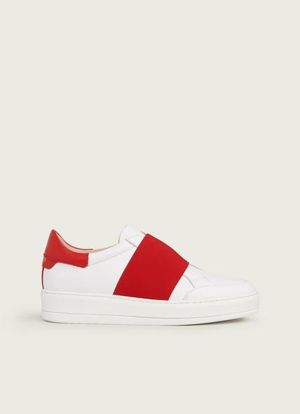 Terry Red Leather Elastic Trainers