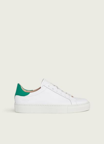 Tokyo White and Green Leather Trainers