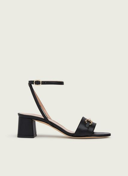 Naomi Black Grainy Leather Formal Sandals