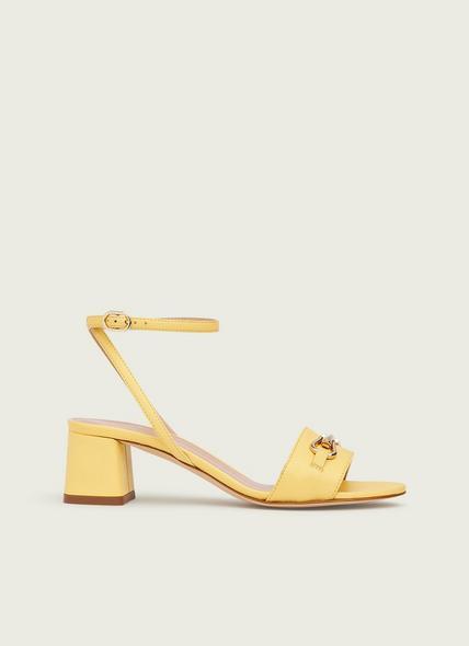 Naomi Yellow Grainy Leather Sandals