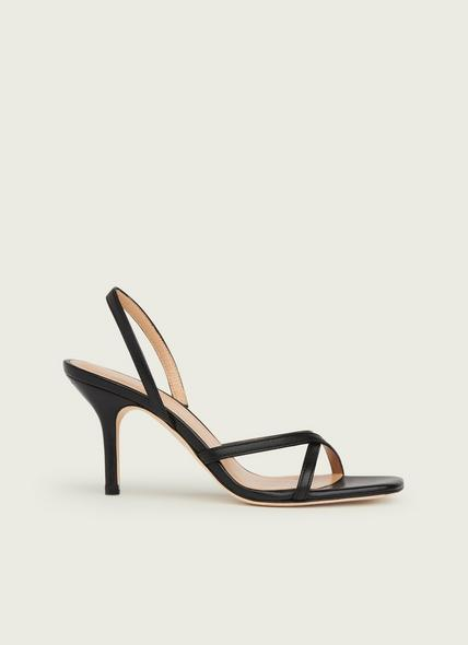 Noon Black Leather Strappy Sandals
