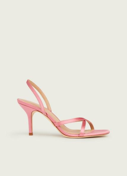 Noon Pink Satin Strappy Sandals