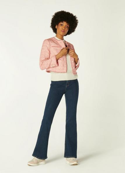 Celeste Pink Tweed Cropped Jacket