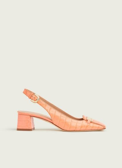 Harlem Apricot Croc-Effect Leather Slingbacks