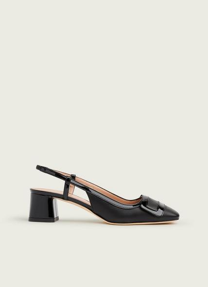 Hilary Black Leather Block Heel Slingbacks