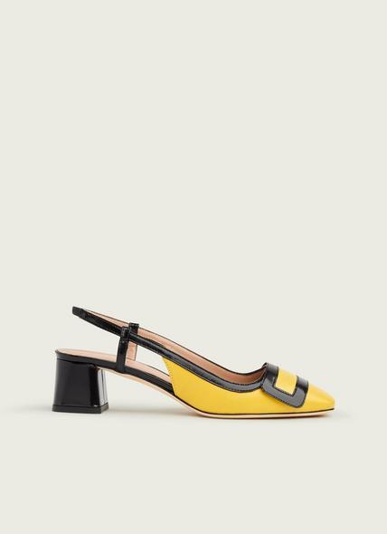 Hilary Yellow & Black Leather Block Heel Slingbacks