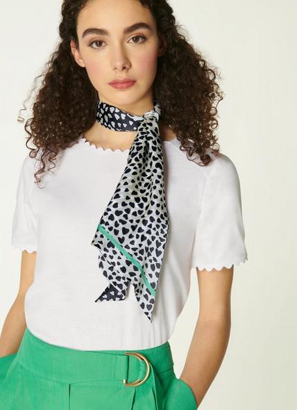 Camilla Navy and Cream Heart Print Silk Scarf