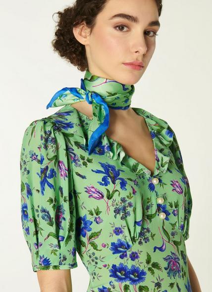 Pami Green Romance Floral Print Silk Scarf