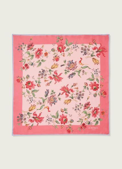 Phelia Pink Romance Floral Print Silk Scarf
