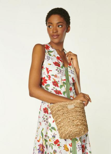 Mandy Natural Raffia Crossbody Bucket Bag