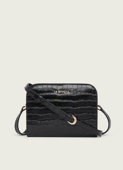 Marie Black Croc-Effect Leather Crossbody Bag