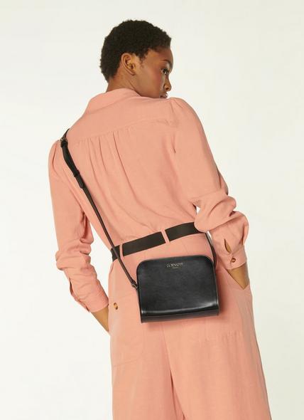 Marie Black Leather Crossbody Bag