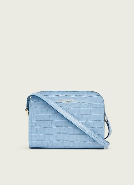Marie Blue Croc-Effect Leather Crossbody Bag
