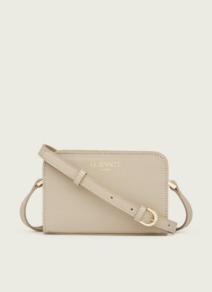 Mini Marie Taupe Saffiano Leather Crossbody Bag