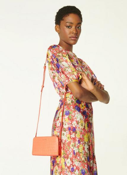 Mini Marie Apricot Croc-Effect Leather Crossbody Bag