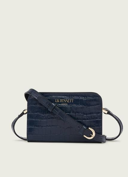 Mini Marie Navy Croc-Effect Leather Crossbody Bag