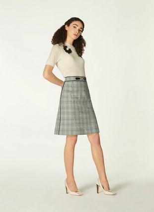 Faye Green Check Cotton-Blend A-Line Skirt