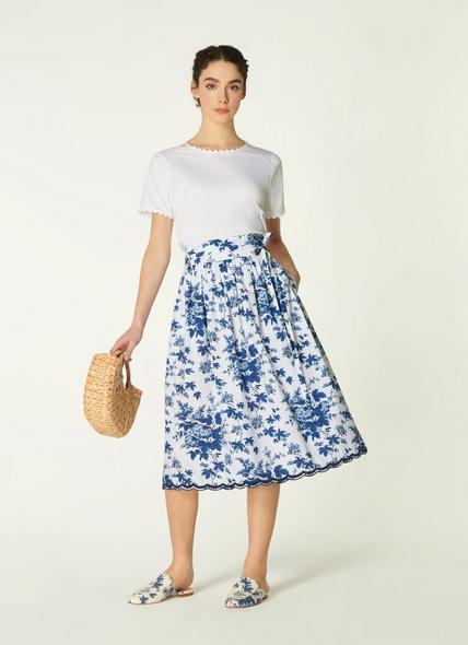 Hodgkin Toile de Jouy Print Cotton Skirt
